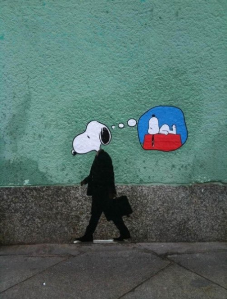 Snoopy going to work